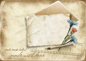 与旧卡和矢复古纸背景 — 图库照片