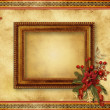 Christmas greeting card with frame - Stok fotoğraf