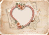 Vintage background with old postcards and heart — Stock Photo