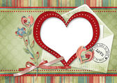 Retro card with heart — Stock Photo