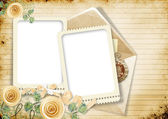 Vintage sheet notebook with roses and borders — Stock Photo