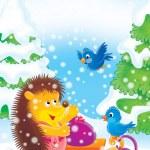 Hedgehog and birds — Stock Photo #6932218