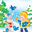Boy, rabbit and birds in a winter forest — Stock Photo
