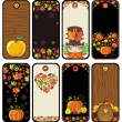 Vector de stock : Thanksgiving set of tags in brown colors