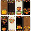 Stock vektor: Thanksgiving set of tags in brown colors