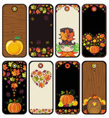 Thanksgiving set of tags in brown colors — Vecteur