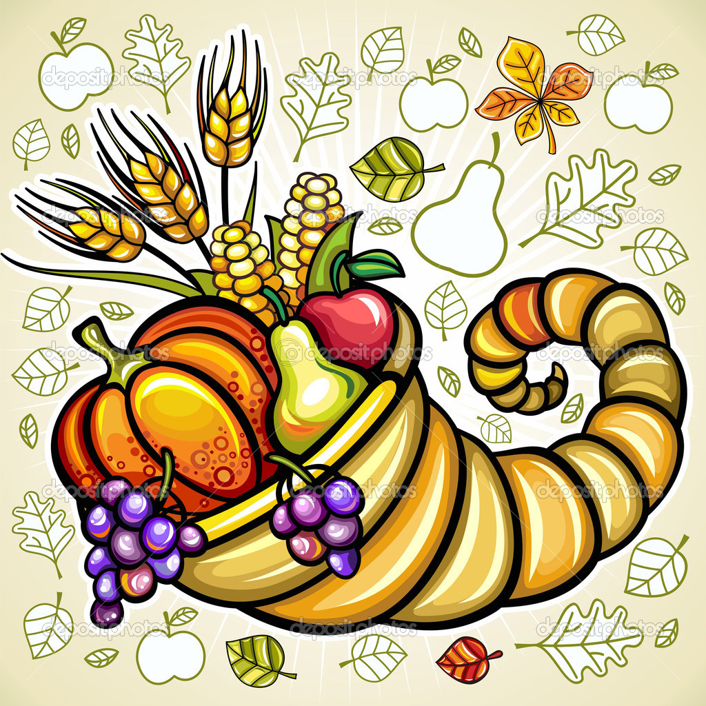 Thanksgiving theme: Harvest cornucopia  — Stockvectorbeeld #7245949