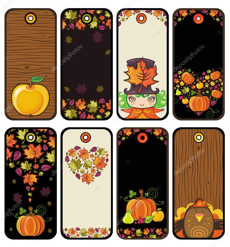 Thanksgiving set of tags in brown colors: pumpkin, turkey, leafs, apple, girl, heart, wood texture  — Stock Vector #7245957