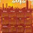 Grunge urban calendar 2012 starts sunday - Stock Vector