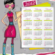 2012 calendar with fashion girl - Stock Vector