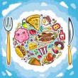 Colorful planet of cute food — Stock Vector
