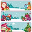 Stock Vector: Festive Christmas banners