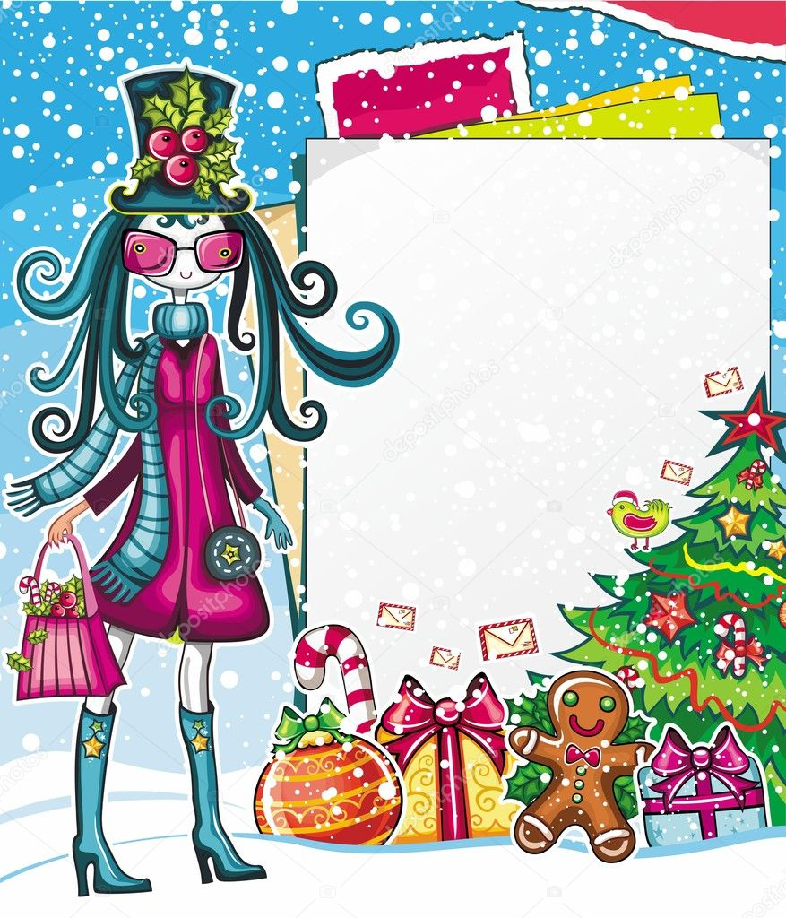 Christmas shopping theme: vector illustration of a pretty girl with Xmas bell, standing near the blank message board. lots of holiday decorations  — Vektorgrafik #7532091