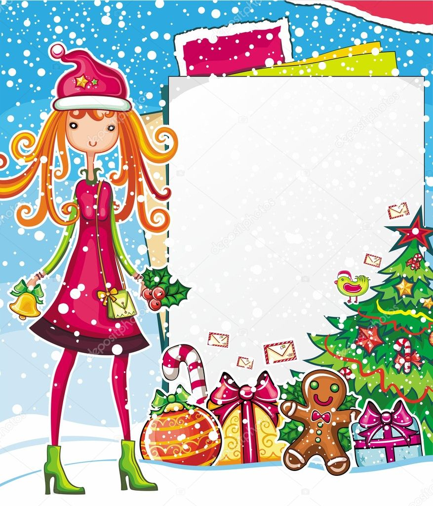 Christmas shopping theme: vector illustration of a pretty girl with Xmas bell, standing near the blank message board. lots of holiday decorations   Stock Vector #7532092