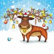 Stock Vector: Christmas deer 2
