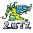 Dragon, New Year symbol 2012 — Stockvectorbeeld