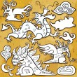Royalty-Free Stock Vector Image: Dragons icon set