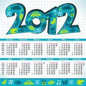 2012 New Year calendar — Vettoriale Stock