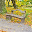 Old wooden bench in the autumn park — Stock Photo #7184733