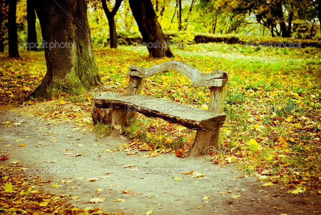 Old wooden bench in the autumn park — Stock Photo #7184811