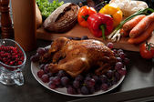 Roasted stuffed holiday turkey — Stock Photo