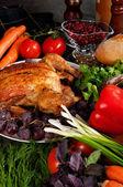 Roasted stuffed holiday turkey — Stock Photo