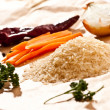 Stock Photo: Rice and vegetables