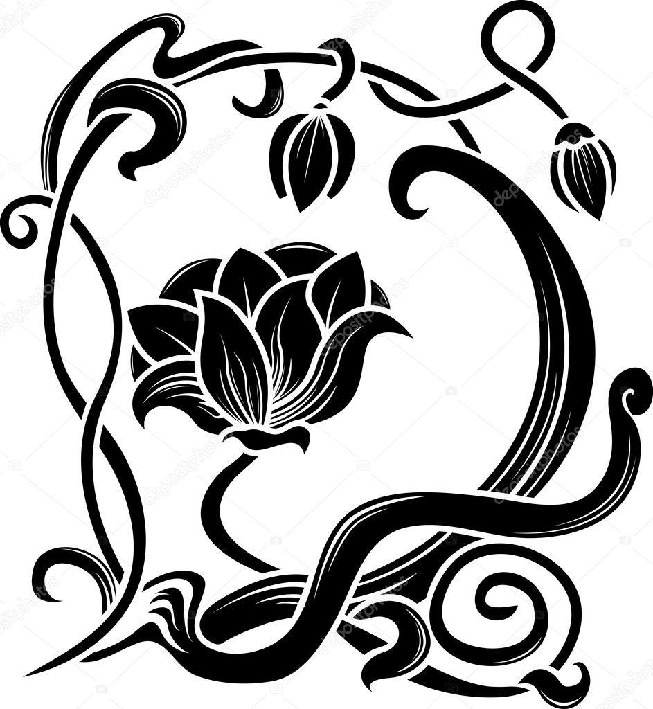 Art Nouveau Flowers Vector Art Nouveau Style — Vector