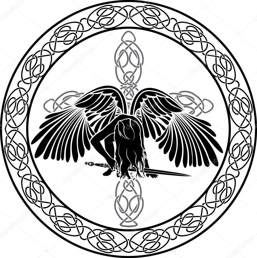 keltische engel in ornamentalen kreis mit kreuz stockvektor kristino0702 6998279. Black Bedroom Furniture Sets. Home Design Ideas