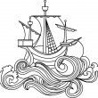 Sailing vessel in art nouveau style - Stock Vector