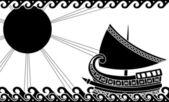 Navire dans l'océan dans le style grec classique — Vecteur