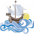 Royalty-Free Stock Vector Image: Colored sailing vessel