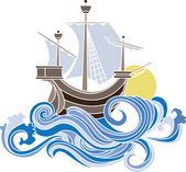 Colored sailing vessel — Stock Vector