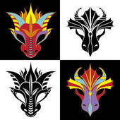 Dragon mask set — Stock Vector