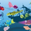 Underwater life in sea - Stock Vector