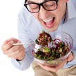 Man and salad — Stock Photo