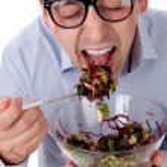 Man and salad — Stock Photo #6814200