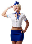 Portrait of beautiful stewardess — Stock Photo