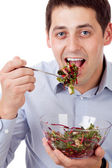 Man and salad — Stockfoto