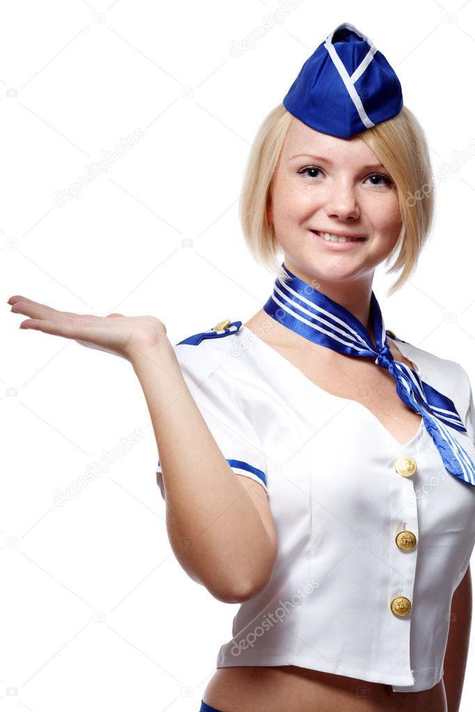 Portrait of beautiful stewardess — Stock Photo #6813388