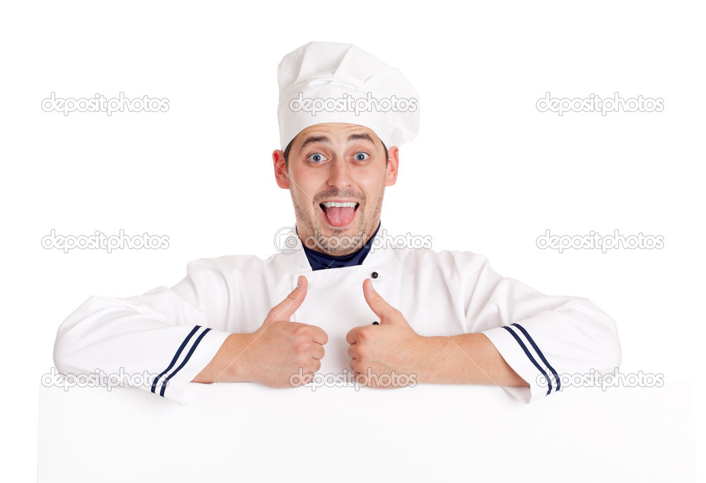 Chef man. Isolated over white. — Stock Photo #6813857
