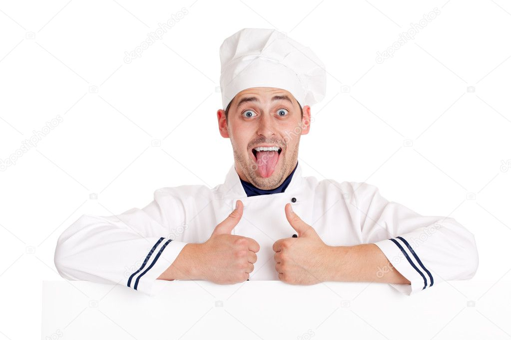 Chef man. Isolated over white. — Stock Photo #6813859