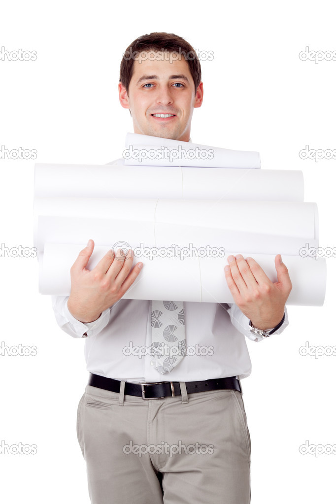 Man with blueprints. — Stock Photo #6813994