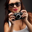 Woman with camera - Foto Stock