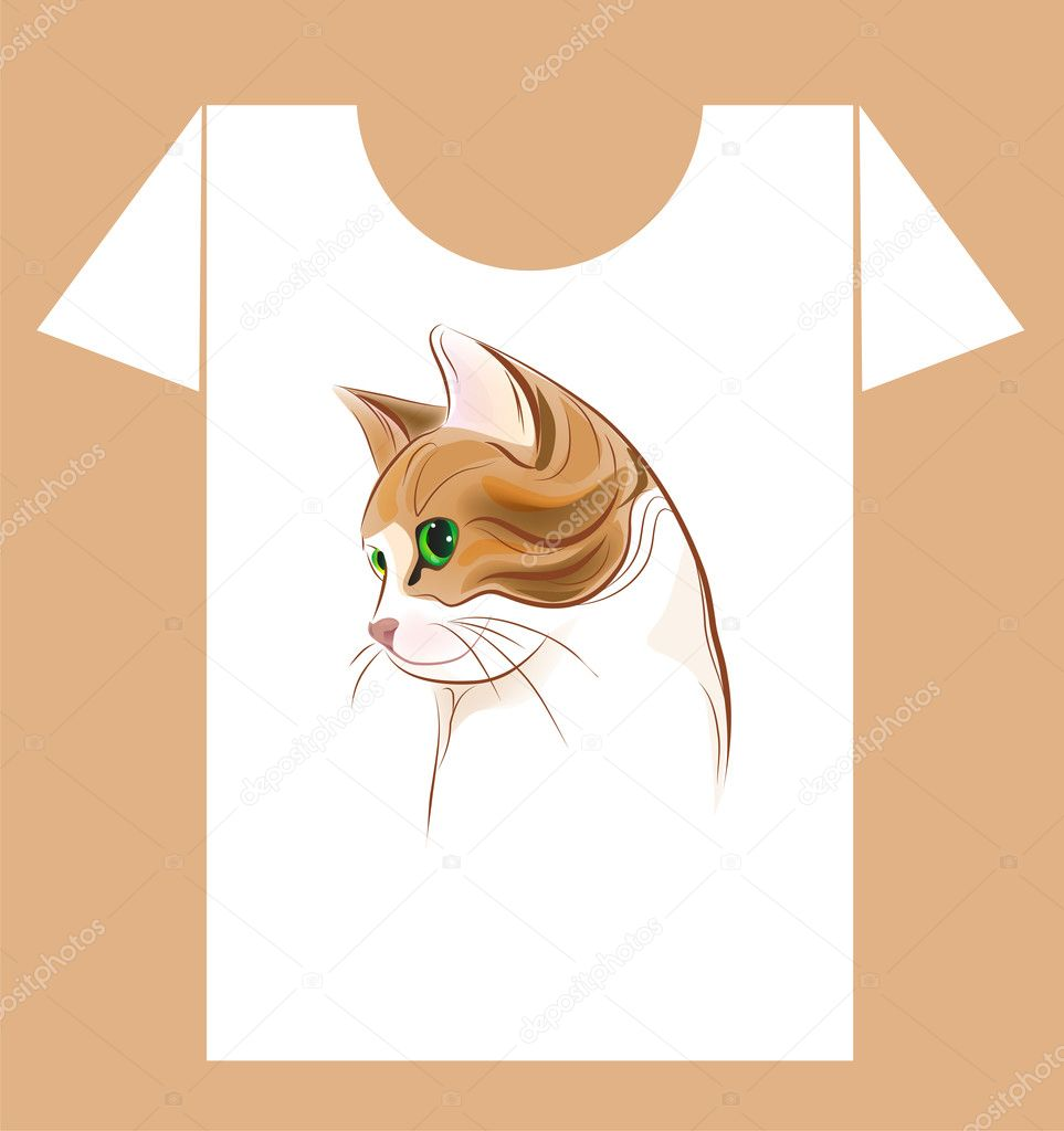T-shirt design with  ginger cat   Stock Vector #6801543