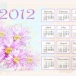 Stock Vector: Calendar 2012 with pink flowers