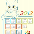 Cat showing calendar design 2012 — Stock Vector