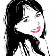 Line art portrait of flirting young girl — Imagen vectorial