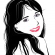 Line art portrait of flirting young girl — Image vectorielle