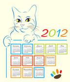 Cat showing calendar design 2012 — Stock Vector